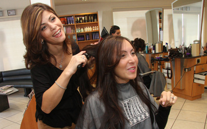 Longtime client Marissa DeSimone getting her hair done by Jamile Mila at Avanti Hair Salon  (Staten Island Advance/Irving Silverstein)